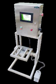 ДВ-1 установка розлива жидких и густых продуктов по весу. Розлив воды в 19 литровые бутыли.